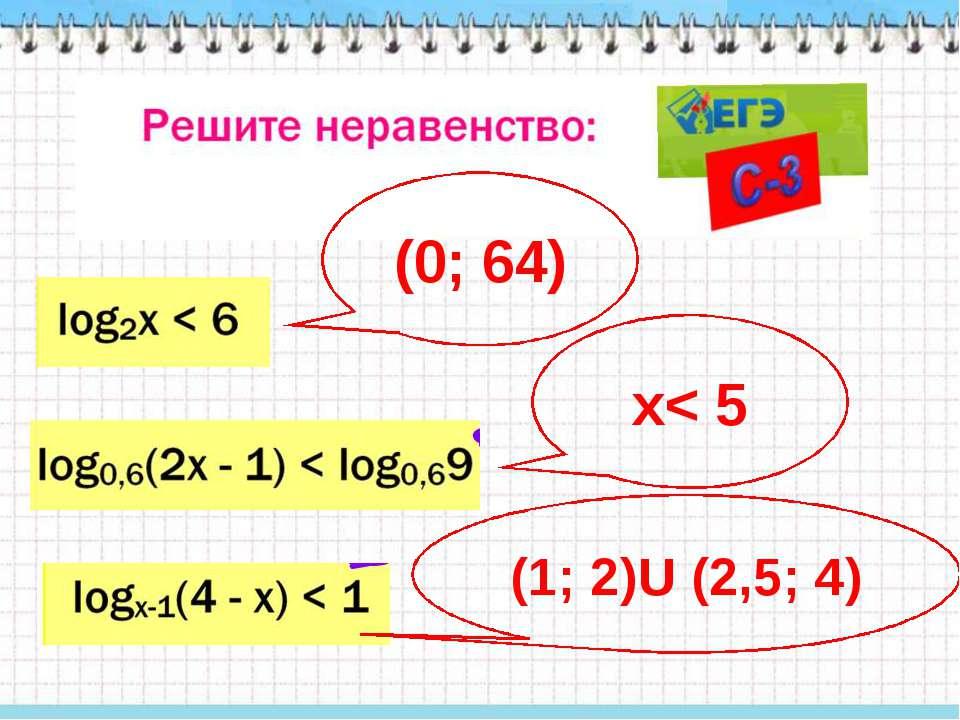 (0; 64) x< 5 (1; 2)U (2,5; 4)