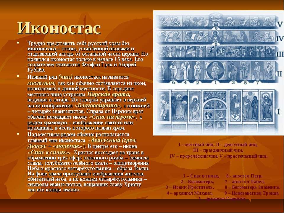 Иконостас Трудно представить себе русский храм без иконостаса – стены, уставл...