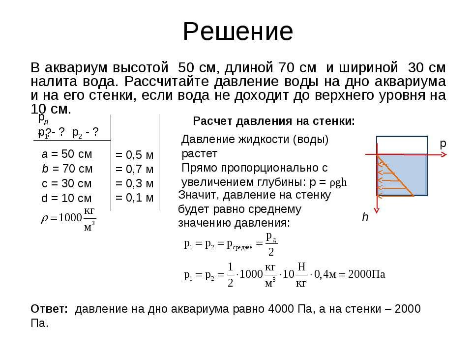 Решение В аквариум высотой 50 см, длиной 70 см и шириной 30 см налита вода. Р...