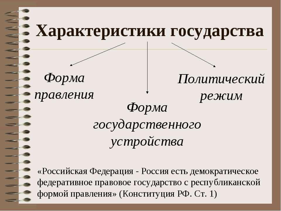 Характеристики государства «Российская Федерация - Россия есть демократическо...