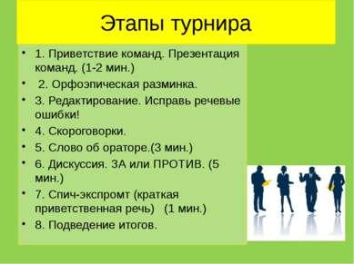 Этапы турнира 1. Приветствие команд. Презентация команд. (1-2 мин.) 2. Орфоэ...