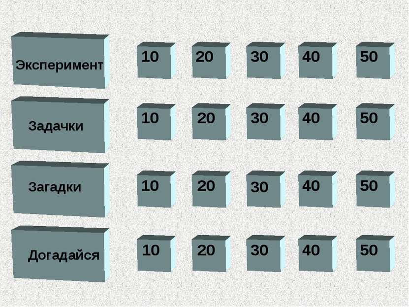 10 10 10 20 30 40 50 50 40 30 20 10 20 20 30 40 50 30 40 50 Эксперимент Задач...