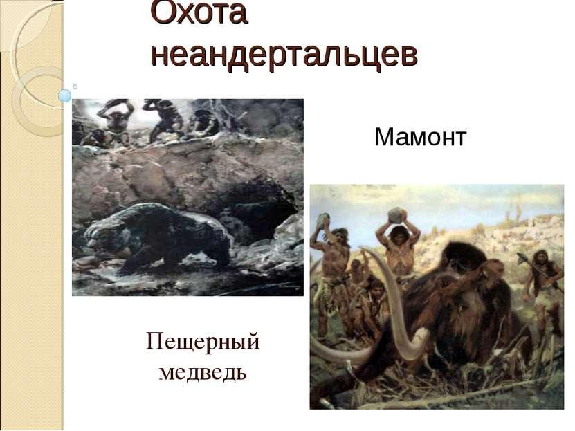 Охота неандертальцев Пещерный медведь Мамонт