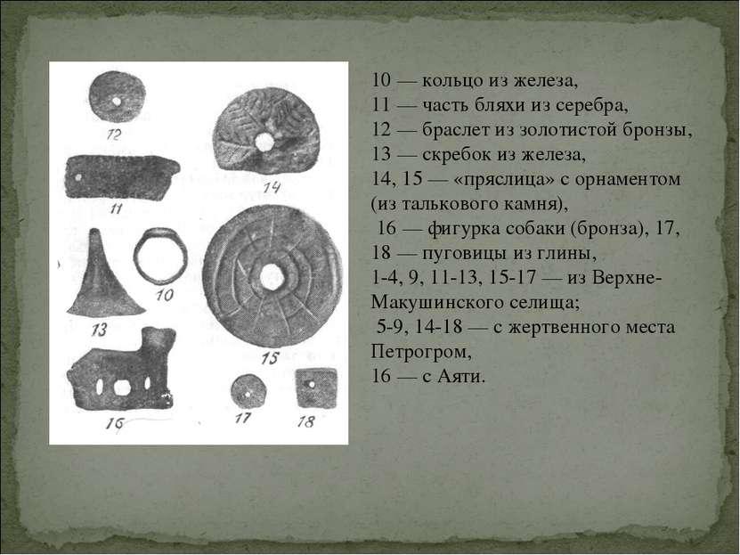 10 — кольцо из железа, 11 — часть бляхи из серебра, 12 — браслет из золотисто...