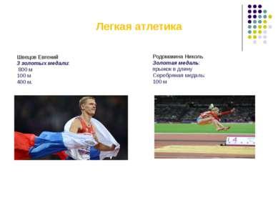 Легкая атлетика Швецов Евгений 3 золотых медали: 800 м 100 м 400 м. Родомакин...