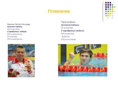 Плавание Неволин-Светов Александр Золотая медаль: 100 м на спине. 3 серебряны...