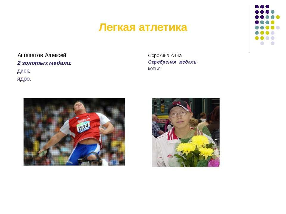 Легкая атлетика Ашапатов Алексей 2 золотых медали: диск, ядро. Сорокина Анна ...