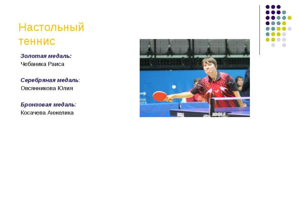 Настольный теннис Золотая медаль: Чебаника Раиса Серебряная медаль: Овсяннико...