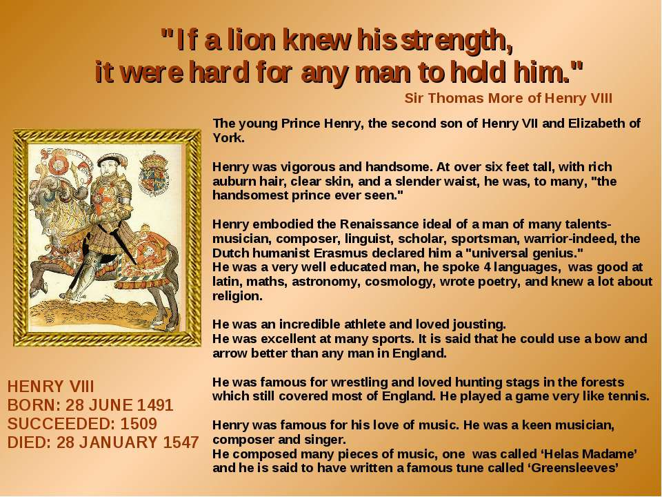 """If a lion knew his strength, it were hard for any man to hold him."" Sir Thom..."