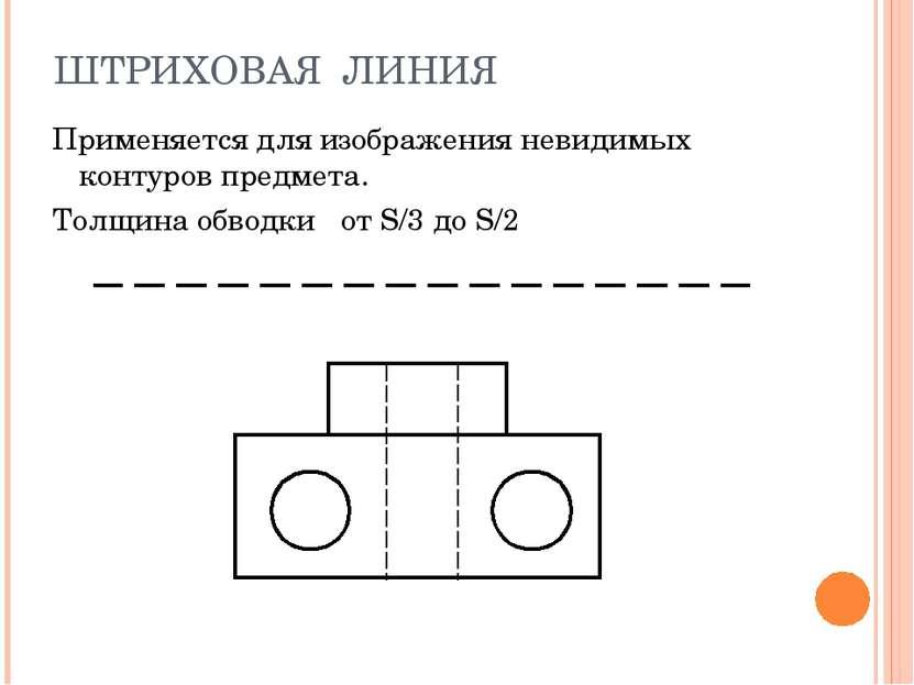 ШТРИХОВАЯ ЛИНИЯ Применяется для изображения невидимых контуров предмета. Толщ...