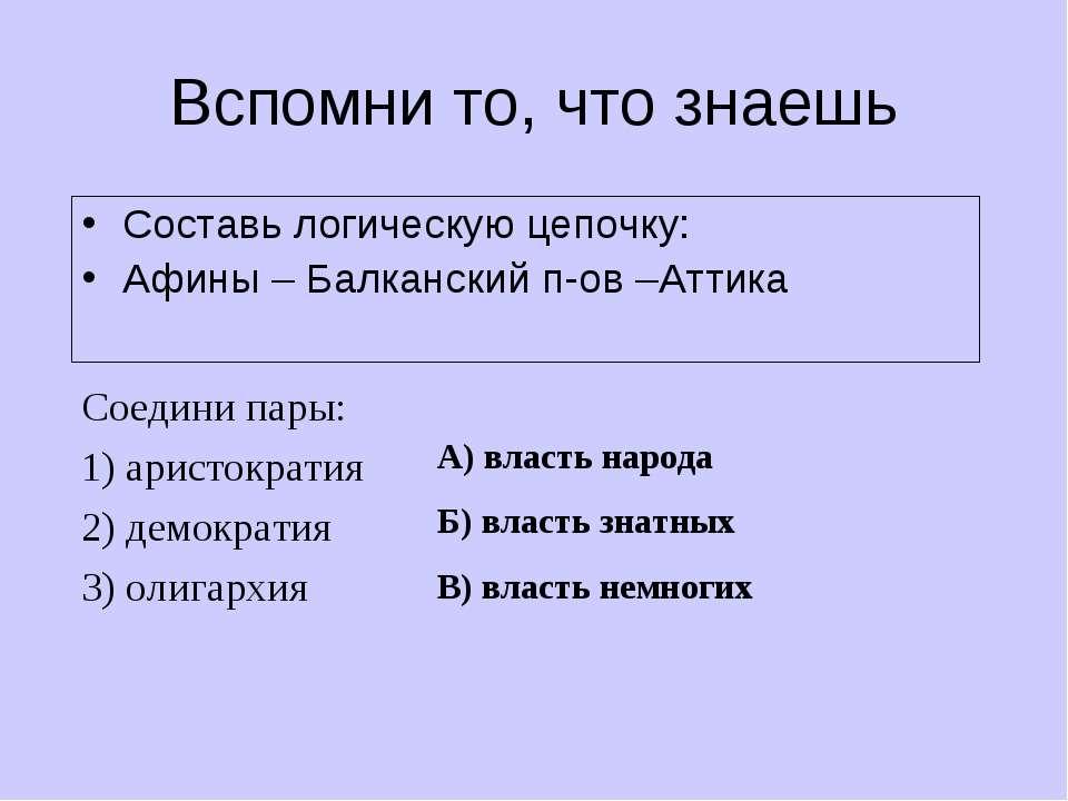 Вспомни то, что знаешь Составь логическую цепочку: Афины – Балканский п-ов –А...