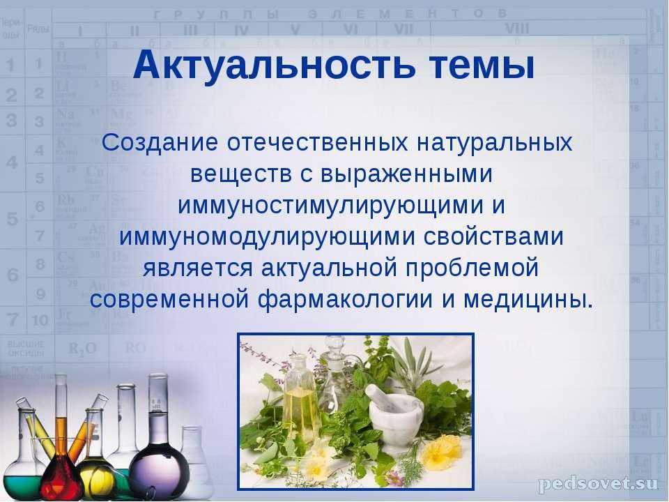 Актуальность темы Создание отечественных натуральных веществ с выраженными им...