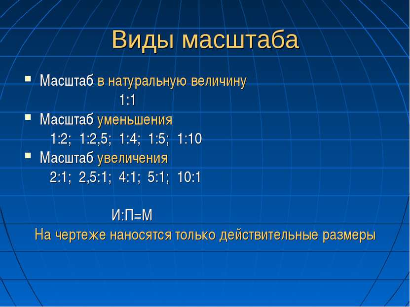 Виды масштаба Масштаб в натуральную величину 1:1 Масштаб уменьшения 1:2; 1:2,...