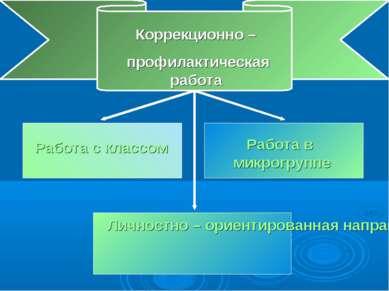 Коррекционно – профилактическая работа Работа с классом Работа в микрогруппе ...
