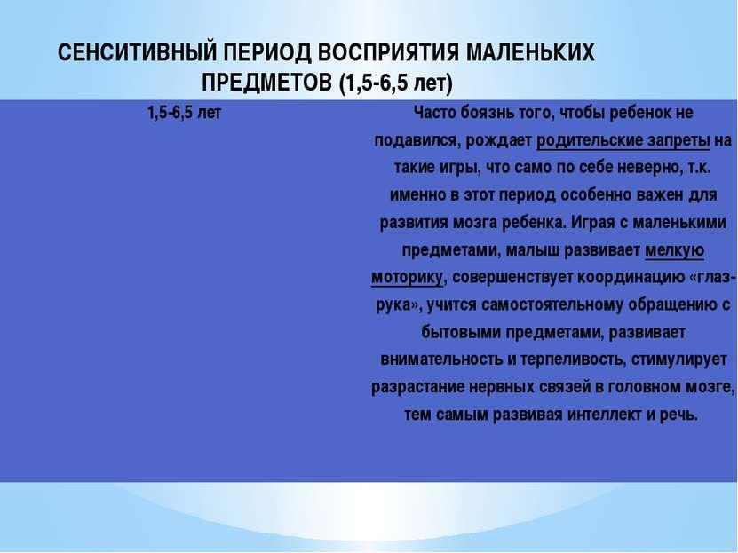 СЕНСИТИВНЫЙ ПЕРИОД ВОСПРИЯТИЯ МАЛЕНЬКИХ ПРЕДМЕТОВ (1,5-6,5 лет) 1,5-6,5 лет Ч...