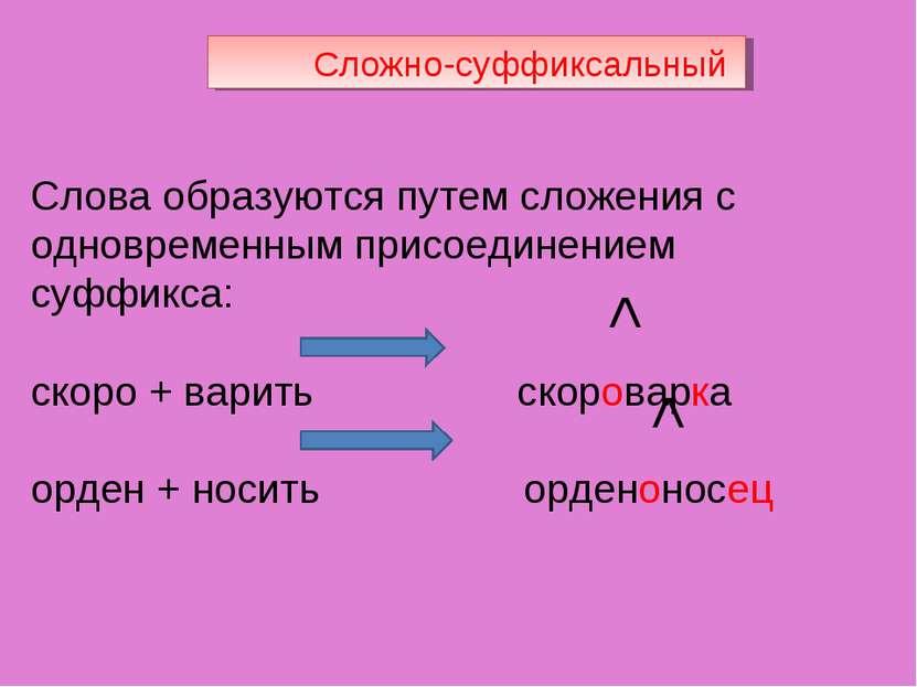 Сложно-суффиксальный Слова образуются путем сложения с одновременным присоеди...