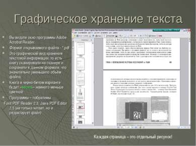 Графическое хранение текста Вы видите окно программы Adobe Acrobat Reader. Фо...