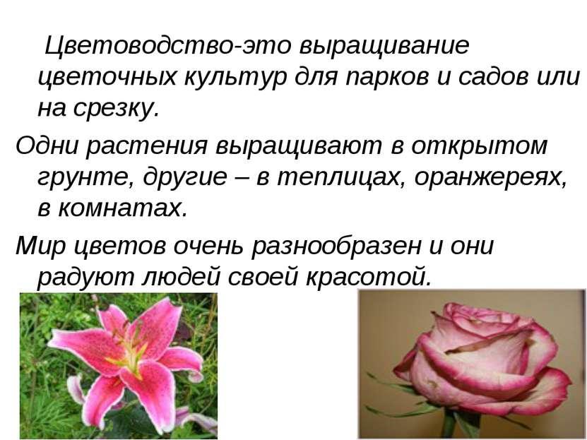Цветоводство-это выращивание цветочных культур для парков и садов или на срез...