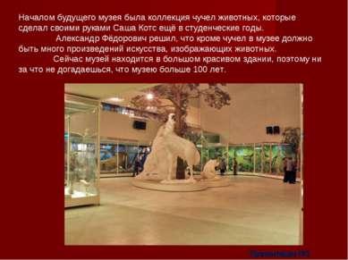 Началом будущего музея была коллекция чучел животных, которые сделал своими р...