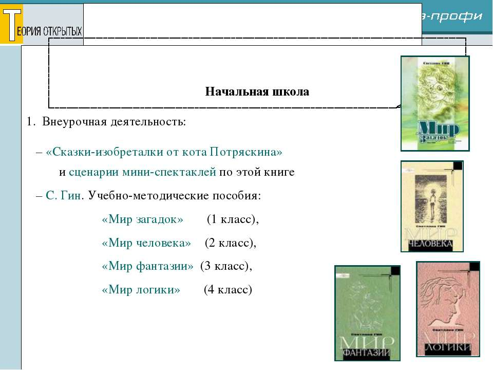 Реализация проекта Начальная школа 1. Внеурочная деятельность: – «Сказки-изоб...