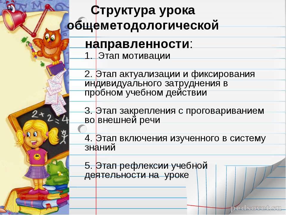 Структура урока общеметодологической направленности: 1. Этап мотивации 2. Эт...