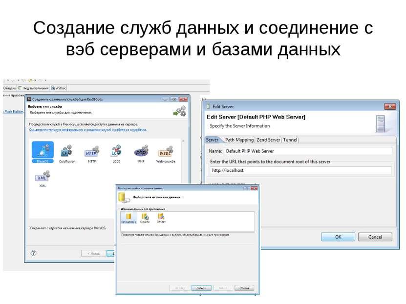 Создание служб данных и соединение с вэб серверами и базами данных