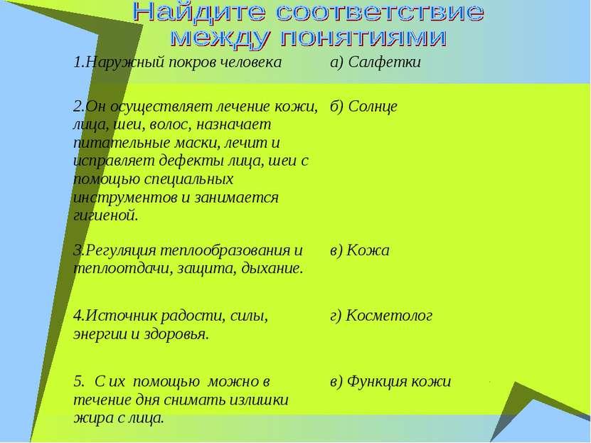 1.Наружный покров человека а) Салфетки 2.Он осуществляет лечение кожи, лица, ...