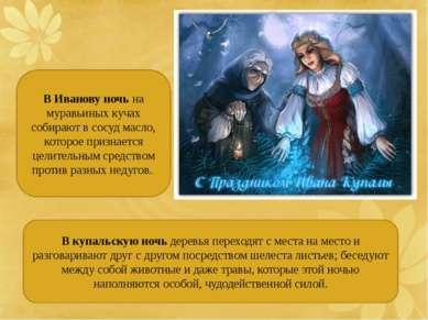 В Иванову ночь на муравьиных кучах собирают в сосуд масло, которое признается...