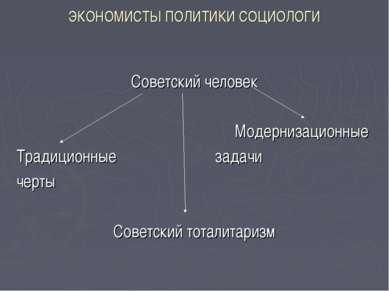 ЭКОНОМИСТЫ ПОЛИТИКИ СОЦИОЛОГИ Советский человек Модернизационные Традиционные...