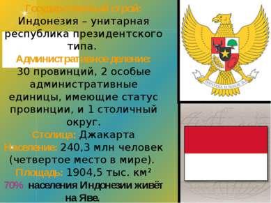 Государственный строй: Индонезия – унитарная республика президентского типа. ...