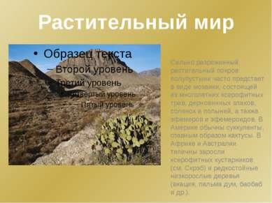Растительный мир Сильно разреженный растительный покров полупустыни часто пре...