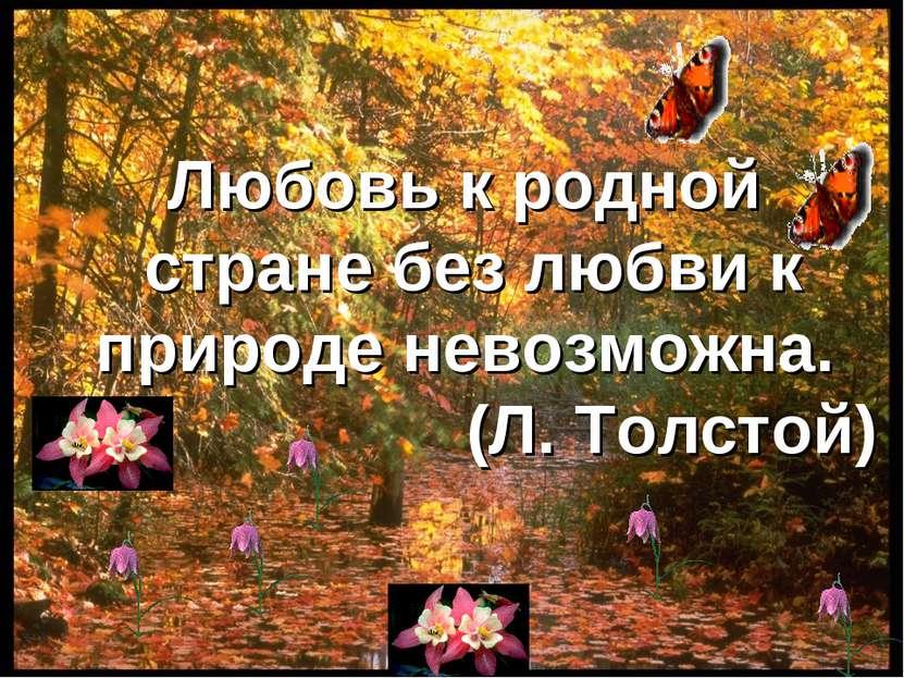Любовь к родной стране без любви к природе невозможна. (Л. Толстой)
