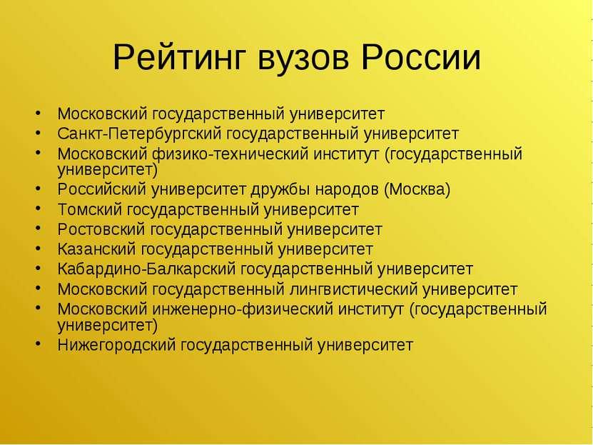 Рейтинг вузов России Московский государственный университет Санкт-Петербургск...