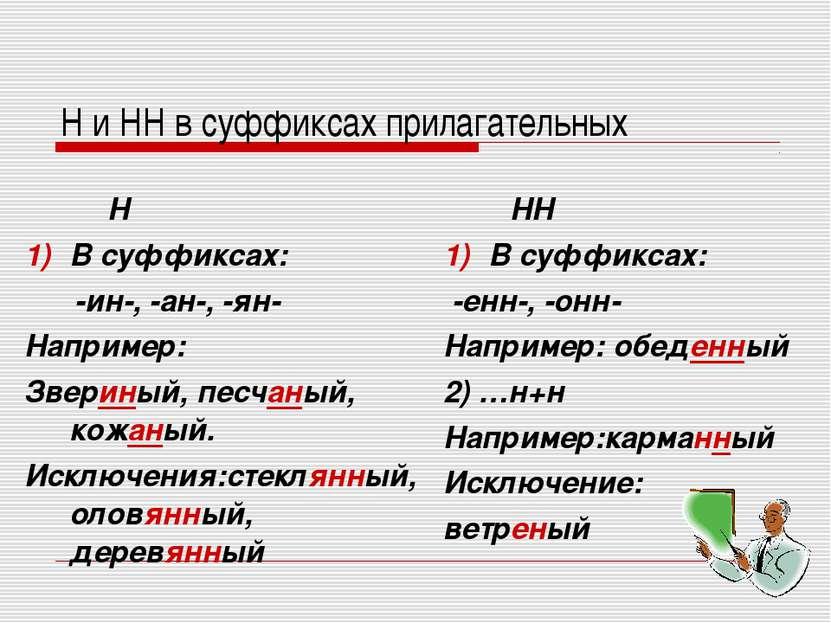 Н и НН в суффиксах прилагательных Н В суффиксах: -ин-, -ан-, -ян- Например: З...
