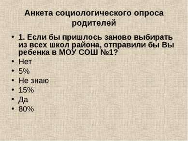 Анкета социологического опроса родителей 1. Если бы пришлось заново выбирать ...
