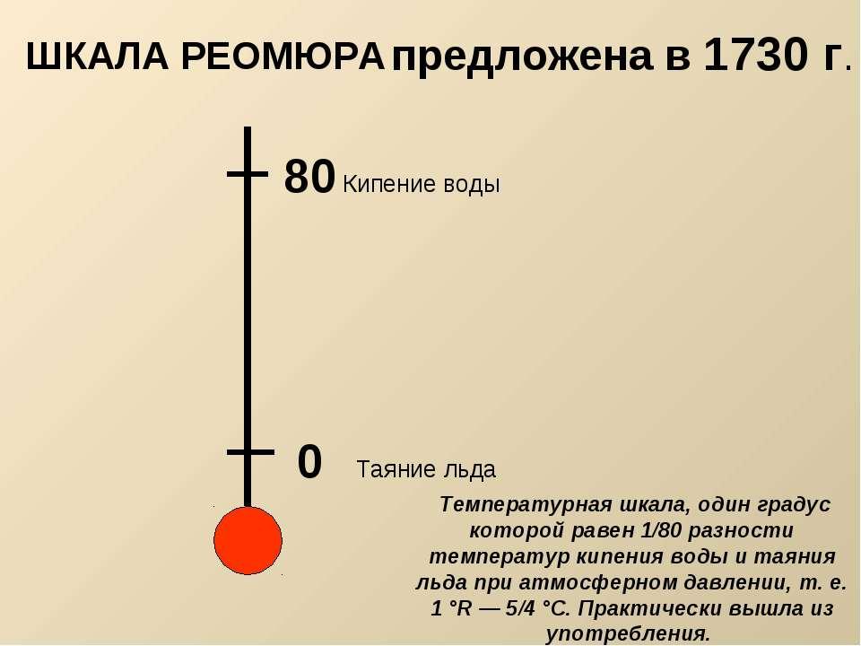 0 Таяние льда 80 Кипение воды предложена в 1730 г. Температурная шкала, один ...
