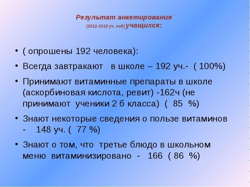 Результат анкетирования (2012-2013 уч. год) учащихся: ( опрошены 192 человека...