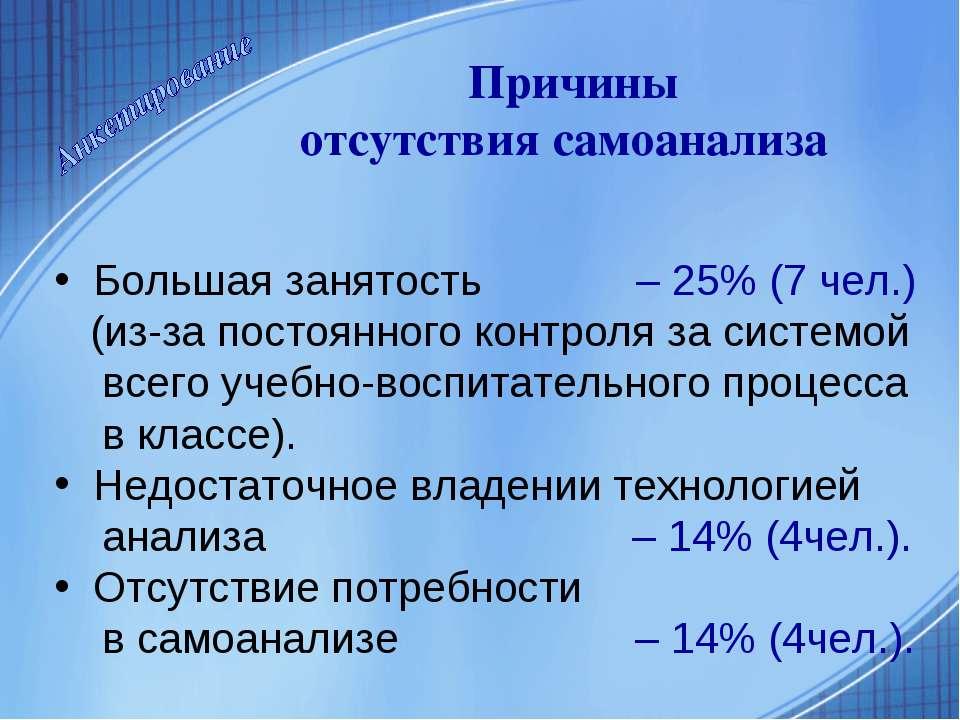 Большая занятость – 25% (7 чел.) (из-за постоянного контроля за системой всег...