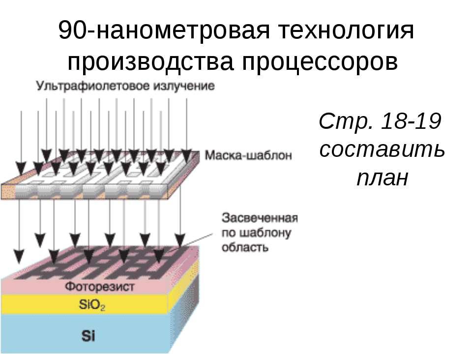 90-нанометровая технология производства процессоров Стр. 18-19 составить план