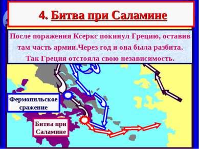4. Битва при Саламине Фермопильское сражение После поражения Ксеркс покинул Г...