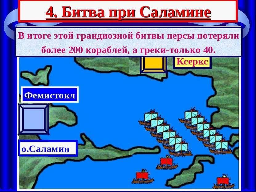 4. Битва при Саламине АТТИКА Ксеркс о.Саламин Фемистокл В итоге этой грандиоз...