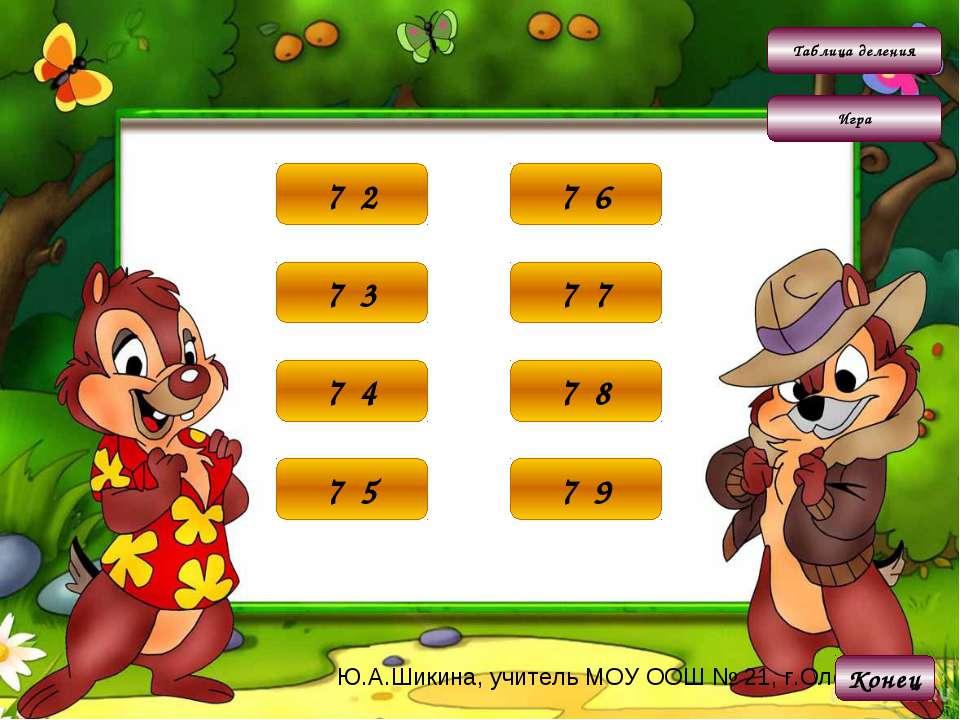 Таблица деления Игра 14 7·2 Конец 21 7·3 28 7·4 35 7·5 42 7·6 49 7·7 56 7·8 6...