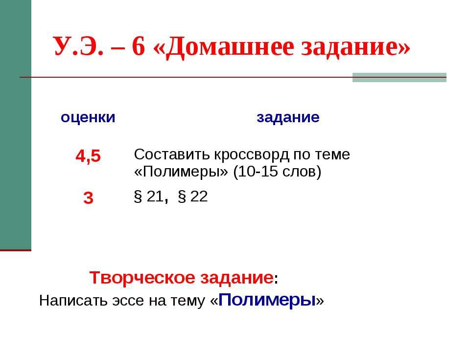 У.Э. – 6 «Домашнее задание» Творческое задание: Написать эссе на тему «Полиме...