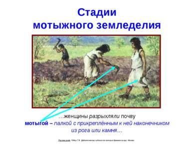 Стадии мотыжного земледелия …женщины разрыхляли почву мотыгой – палкой с прик...