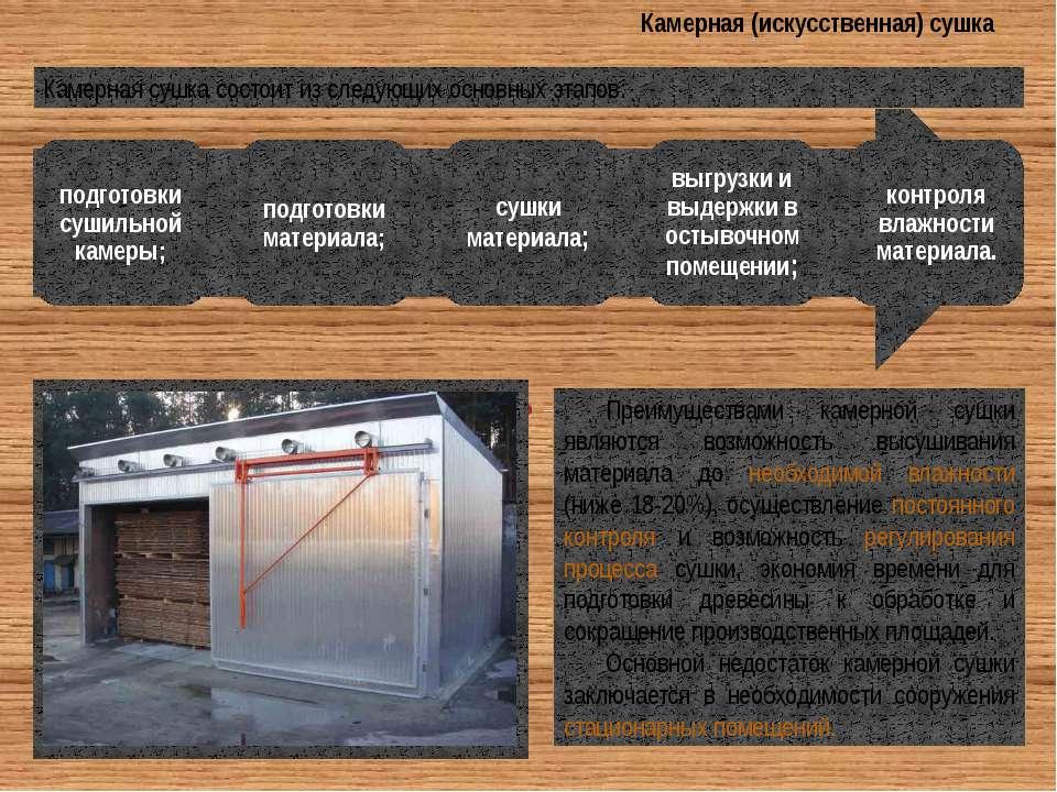 Камерная (искусственная) сушка Преимуществами камерной сушки являются возможн...