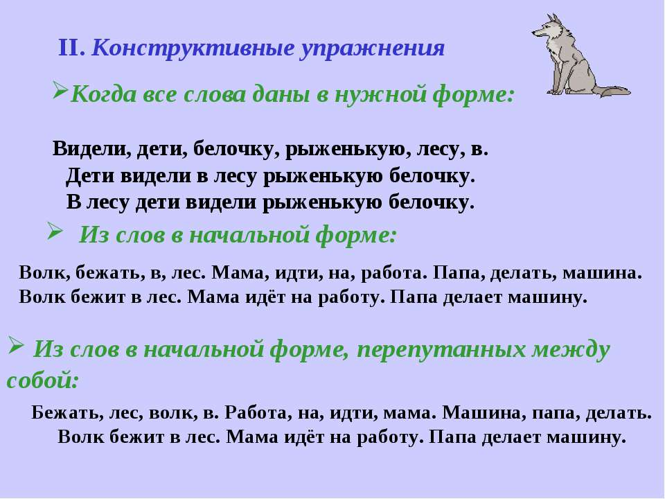 Из слов в начальной форме: Волк, бежать, в, лес. Мама, идти, на, работа. Папа...
