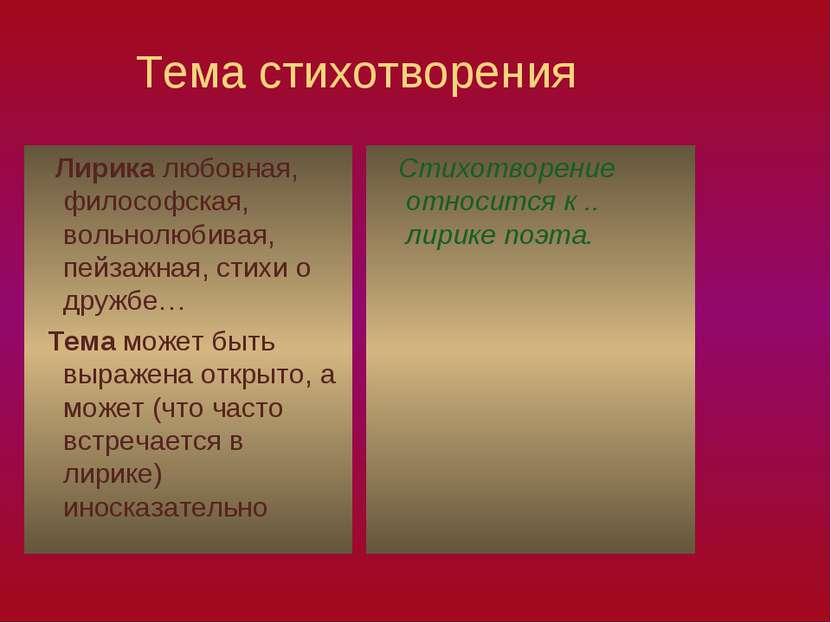 Тема стихотворения Лирика любовная, философская, вольнолюбивая, пейзажная, ст...
