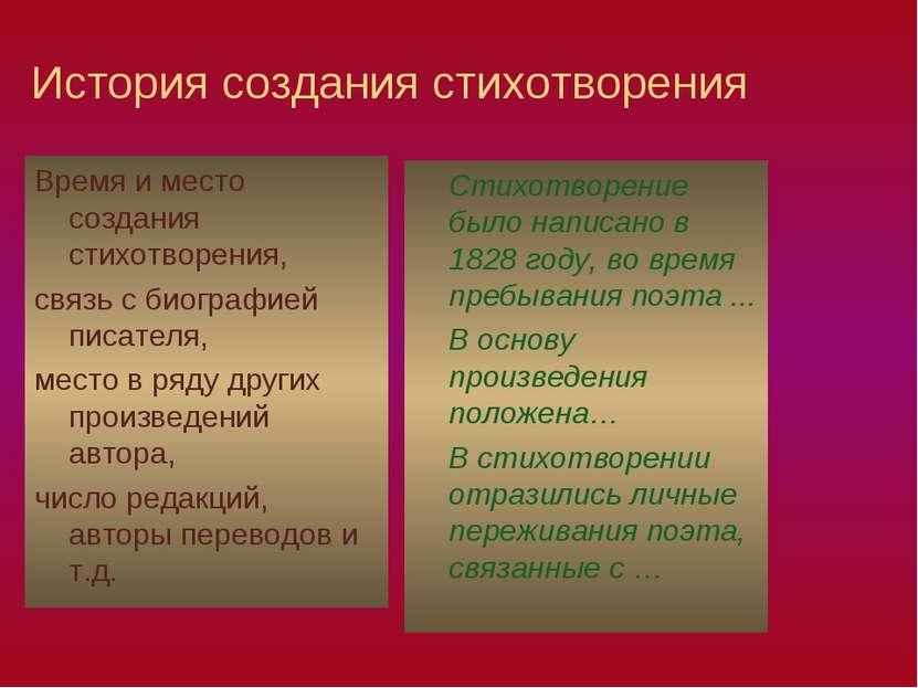 История создания стихотворения Время и место создания стихотворения, связь с ...