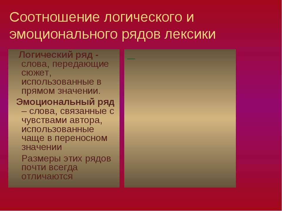 Соотношение логического и эмоционального рядов лексики Логический ряд - слова...