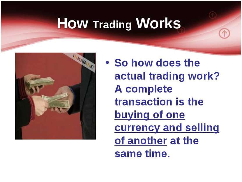How Trading Works So how does the actual trading work? A complete transaction...